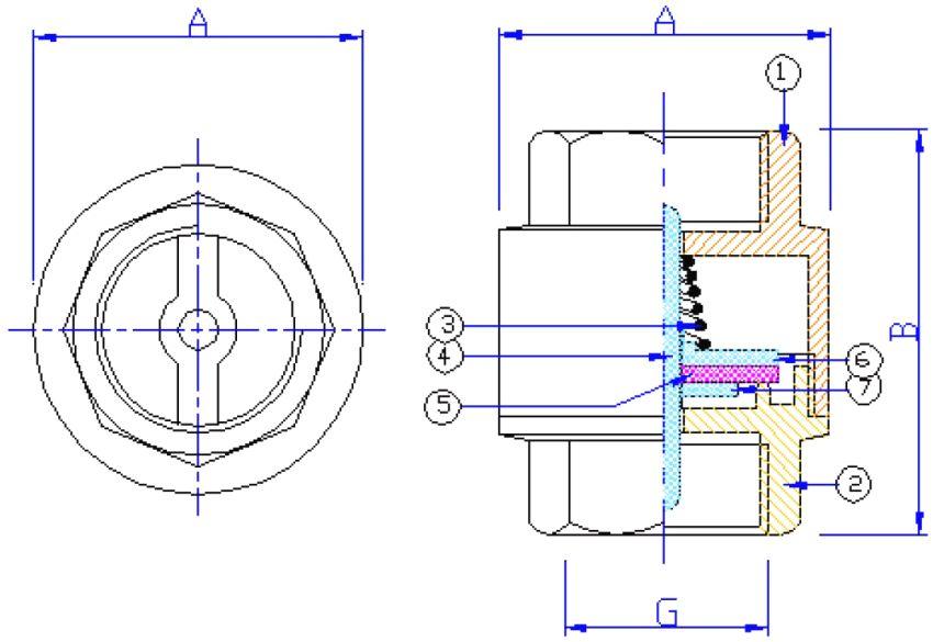 """Размеры и принцип работы муфтового пружинного обратного клапана: 1 и 2 - корпус; 3 - пружина; 4 - пластиковый шток; 5 - уплотнитель; 6 - верхняя тарелка; 7 - нижняя тарелка; А - 34,5-79 мм; В - 46-80,5 мм; G - 1/2-2"""""""