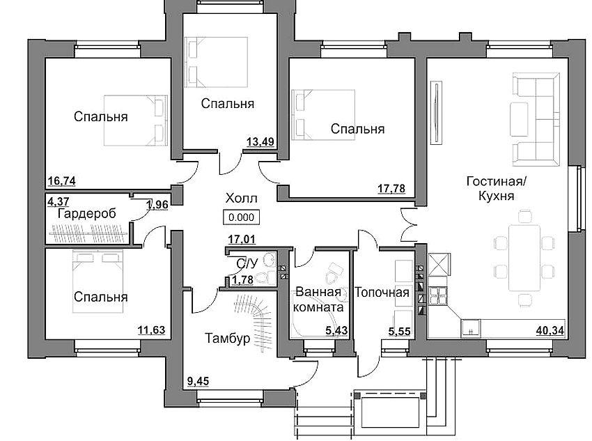Планировка одноэтажного дома площадью 150 кв м, рассчитанного на проживание большой семьи