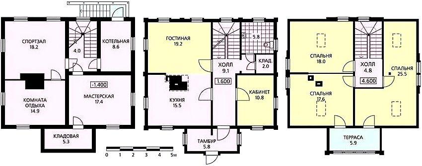 Цокольный, первый и мансардный этаж небольшого по площади частного дома