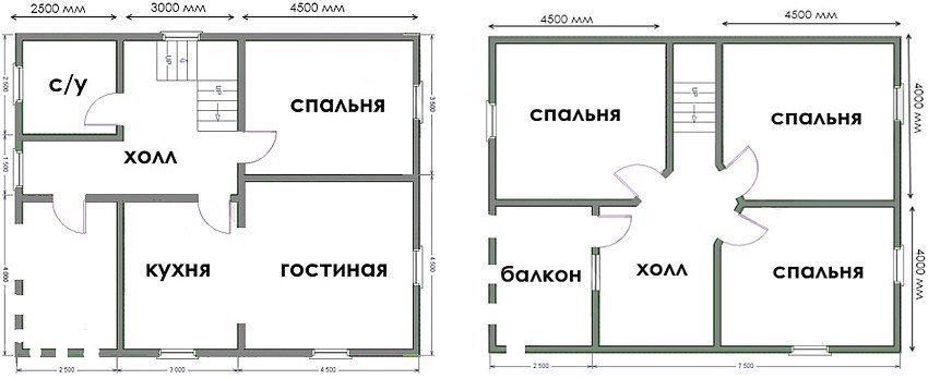 План одноэтажного дома 8х10 с мансардой, четырьмя спальнями и балконом