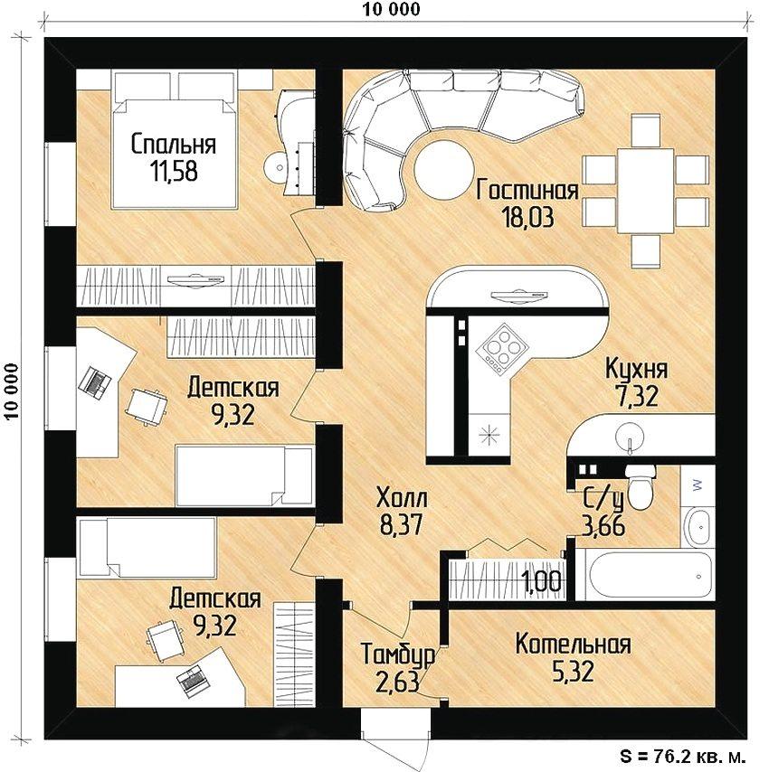 Пример удачной планировки одноэтажного дома 10х10