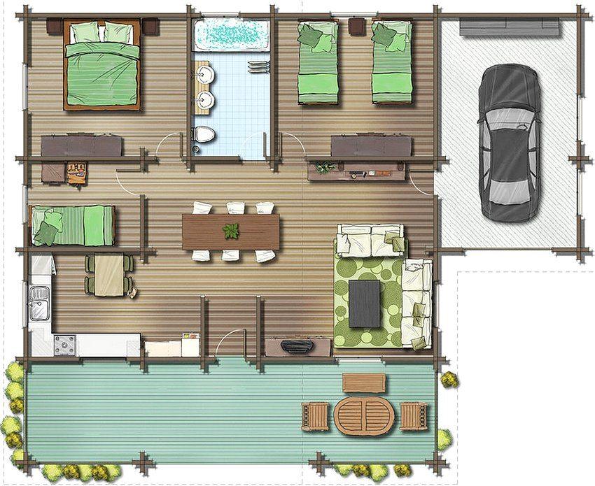 Планировка одноэтажного дома 8 на 10 м с гаражом и большой террасой