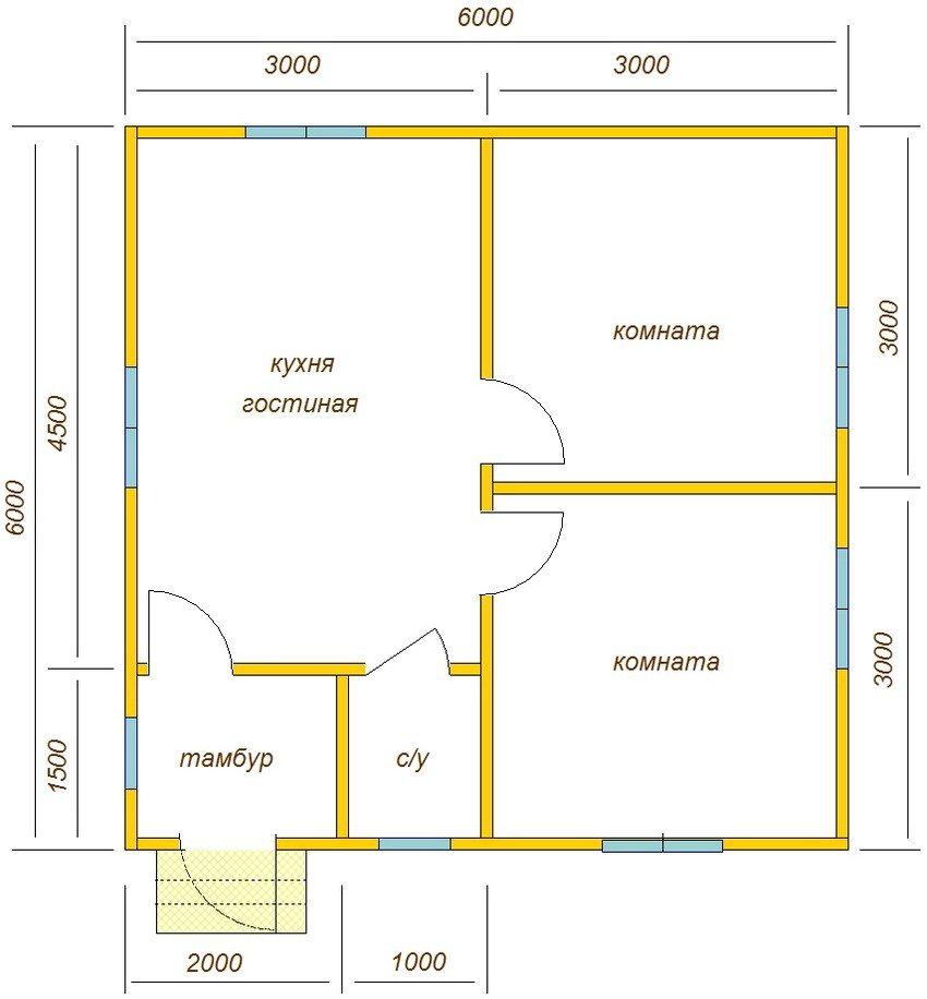 План маленького дома 6х6 м с одним этажом