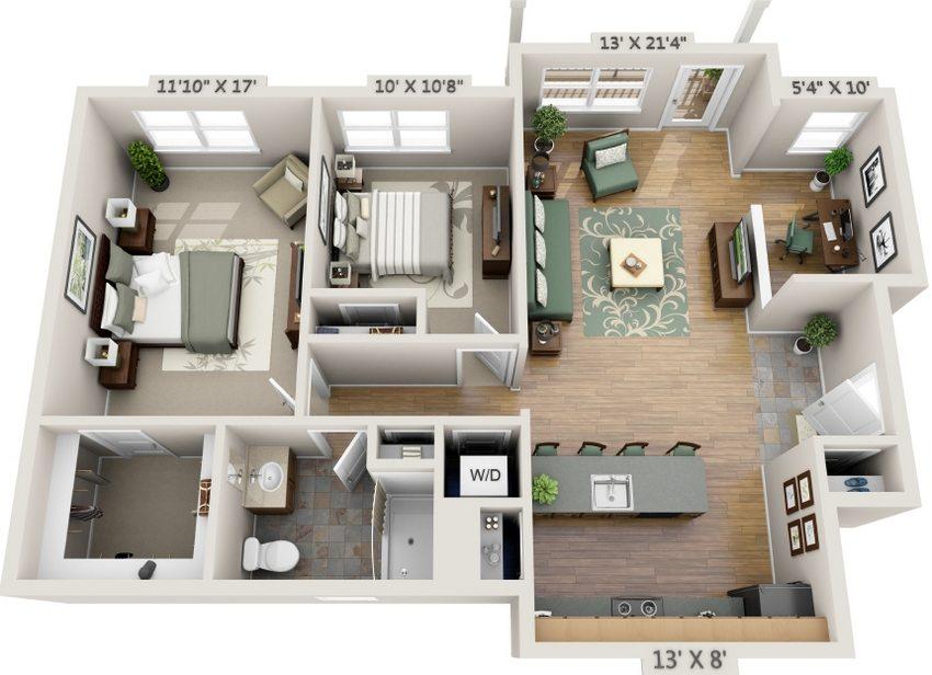 Пример планировки одноэтажного дома, предназначенного для проживания семьи из 2-3 человек