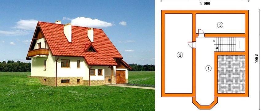 План цоколя одноэтажного дома 8 на 8 м: 1 - коридор, 2 и 3 - нежилые помещения (бильярдная, котельная, прачечная, спортзал и т.д.)