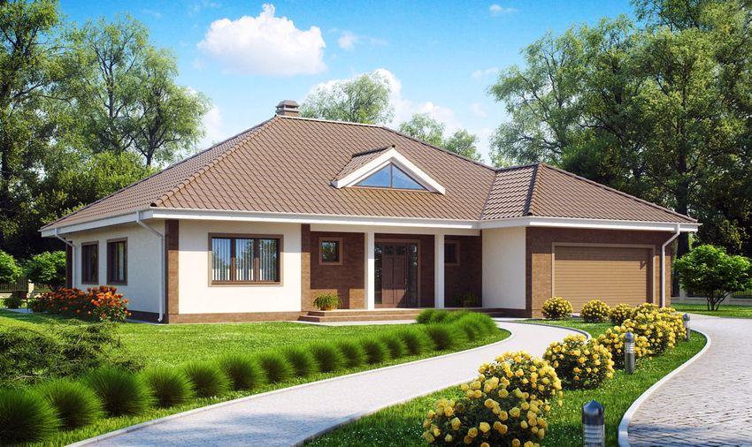Проект одноэтажного дома 8х10 с гаражом