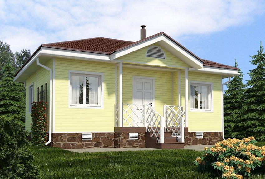 Трехмерный проект небольшого одноэтажного дома