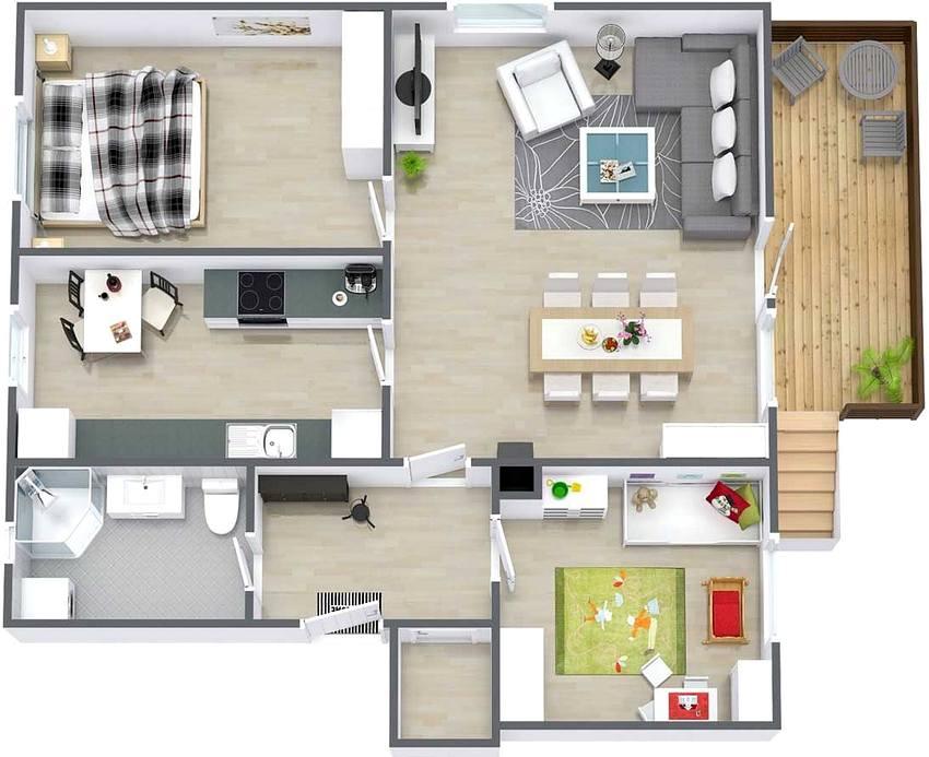 Вариант планировки одноэтажного дома для семьи с ребенком