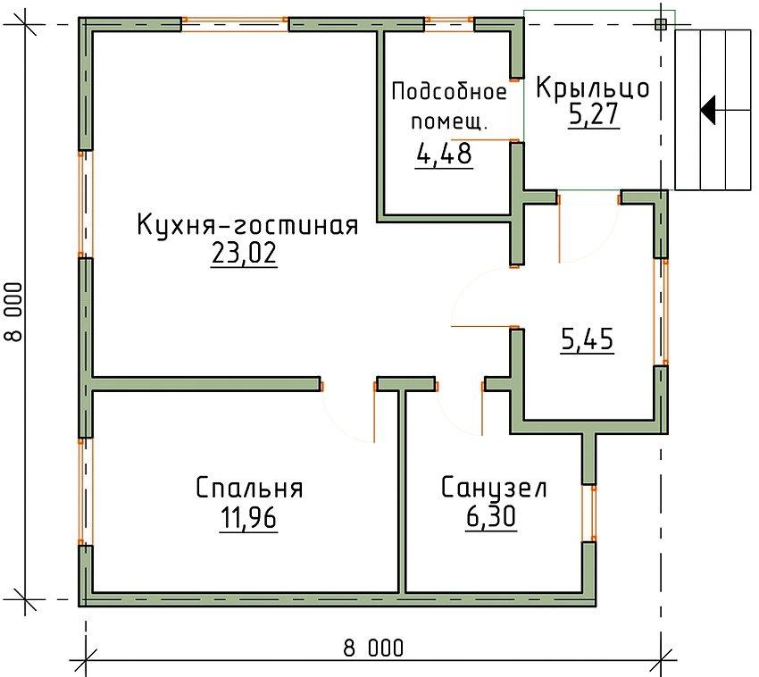 План одноэтажного дома 8 на 8 м с одной спальной комнатой