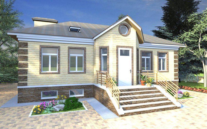 3D-проект одноэтажного дома 8 на 10 м