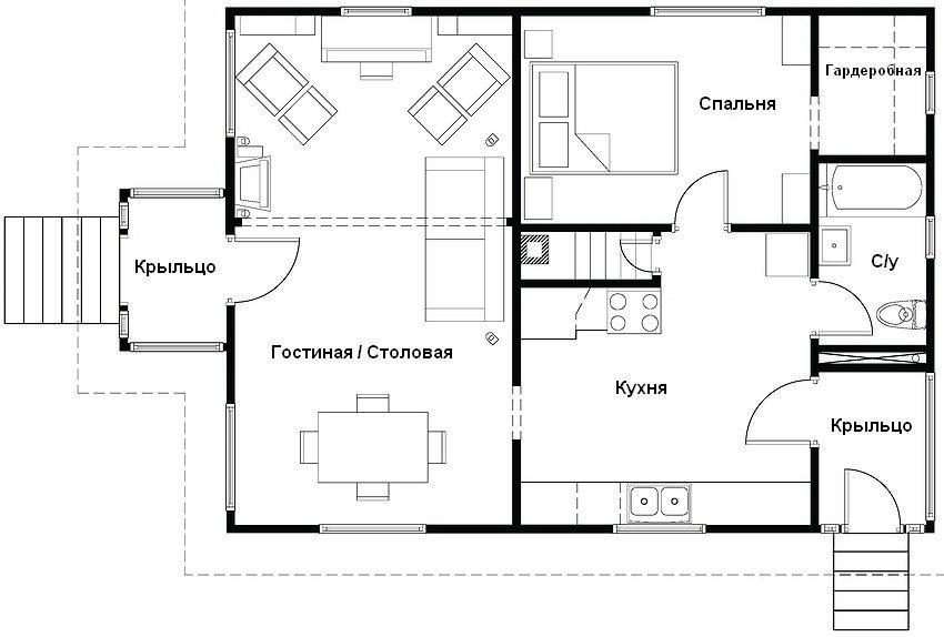 Вариант планировки одноэтажного дома 12х12 м