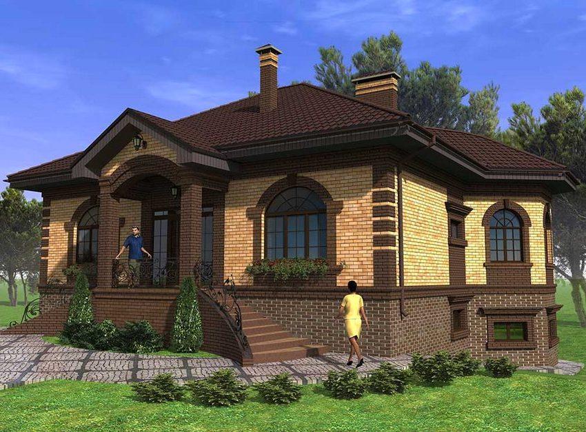 Трехмерный проект дома 8х8 м с цокольным этажом