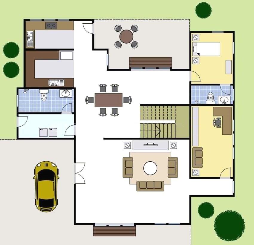 Планировка первого этажа коттеджа 8х8 м с террасой и парковочным местом для автомобиля