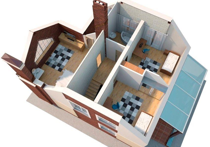 3D-проект двухэтажного дома 8х8 м из пеноблоков