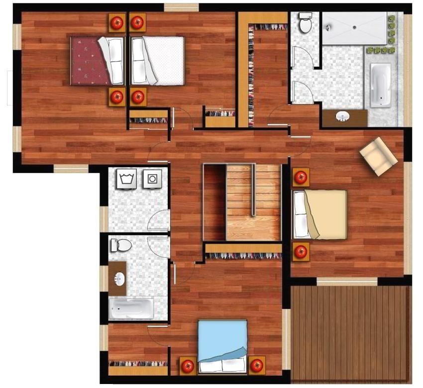 Планировка 1 этажа двухэтажного деревянного дома