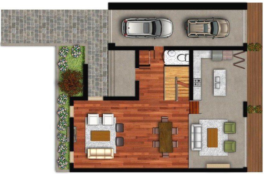 Планировка дома 8 на 8 метров с гаражом на два автомобиля