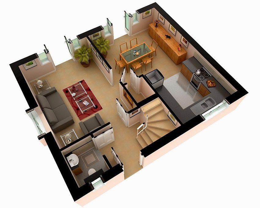 Пример планировки первого этажа коттеджа