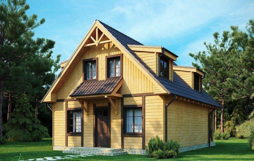 Проект двухэтажного дома 8х8 с мансардой: вид на фасад с главным входом