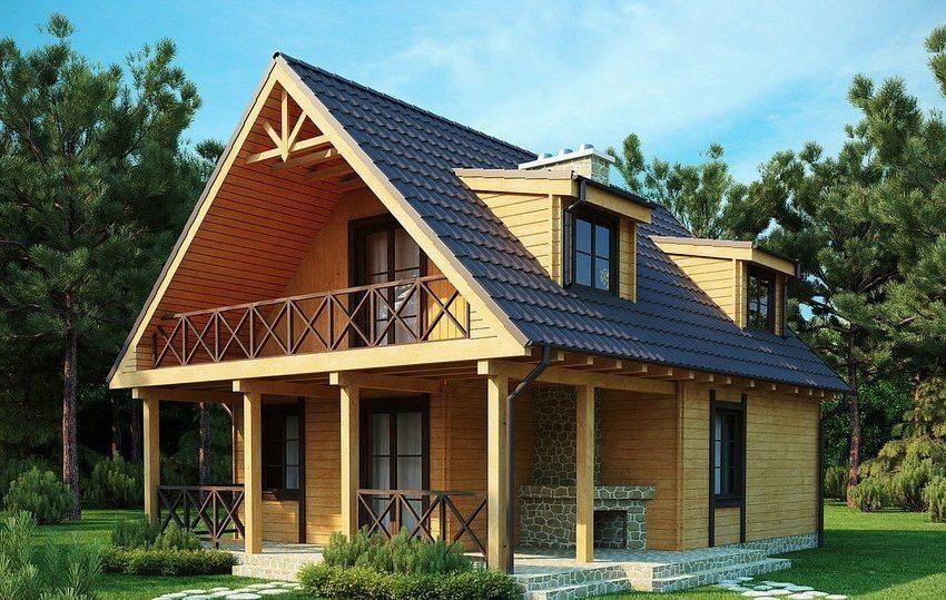Проект двухэтажного дома 8х8 с мансардой: вид на задний двор с террасой и каменной печью
