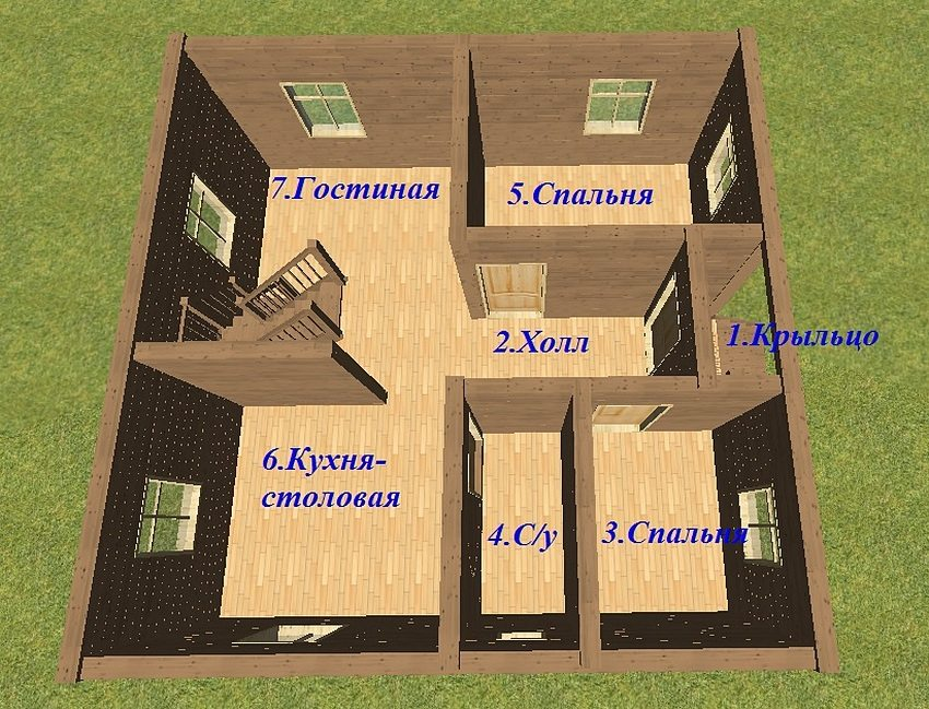 Variant of arrangement of premises on the first floor of the house from a bar