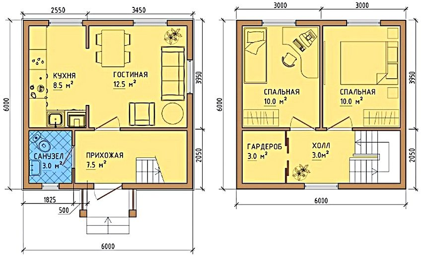 The layout of the house 6x6 with two bedrooms and a dressing room on the second floor