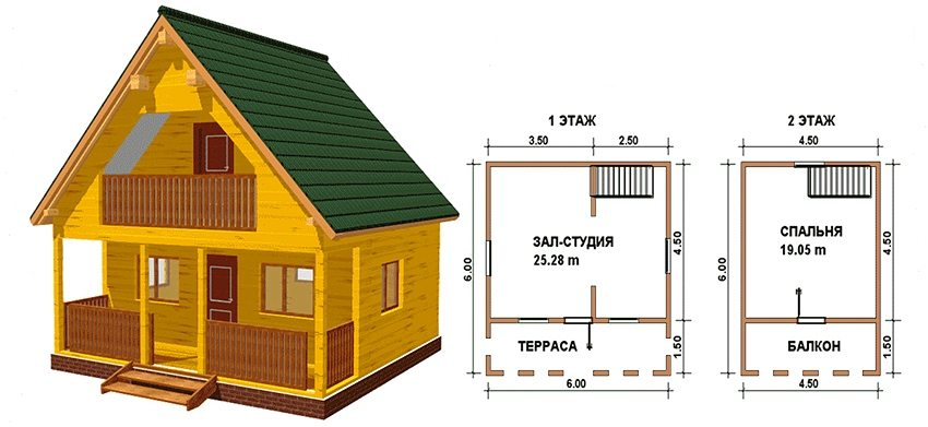 The project of a wooden two-storey house 6 on 6 m