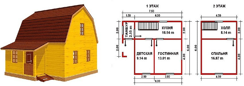 An example of the layout of a 6-storey 6-storey house built of wood