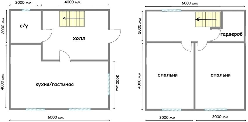 The layout of a two-storey house 6 to 6