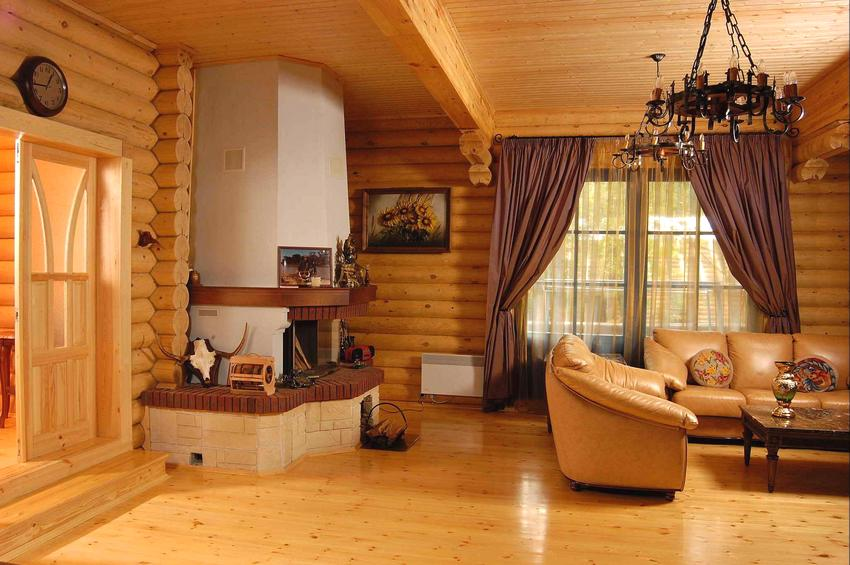 Interior decoration of a wooden house 6 on 6 m