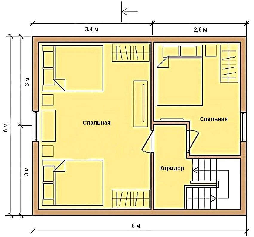 Example of a plan of the second floor of a house 6 by 6 m