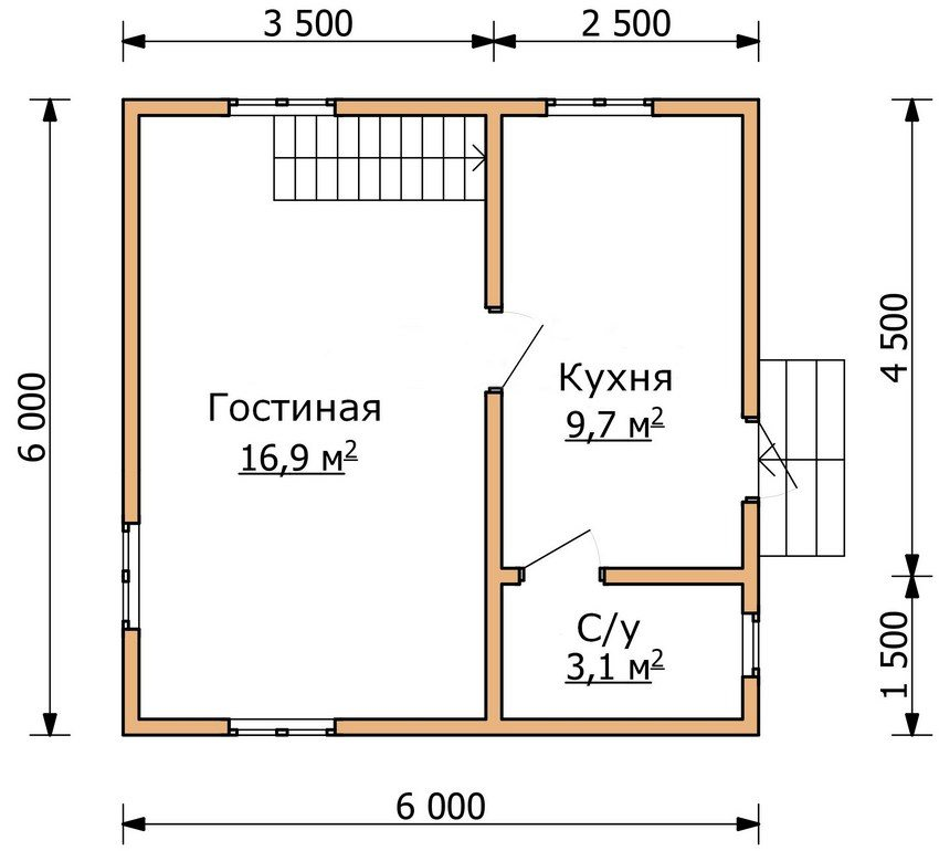 The plan of the first floor of a two-storey house 6 on 6 m