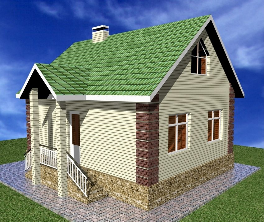 3D-project of a two-storey house with a small area