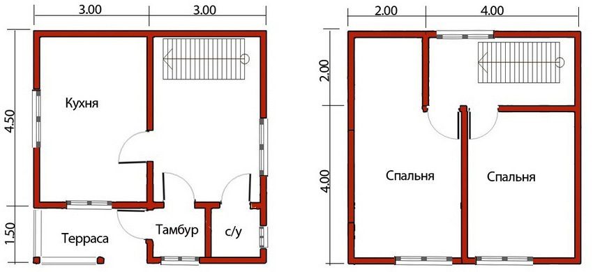 The plan of a two-storey house 6 to 6 with a small terrace