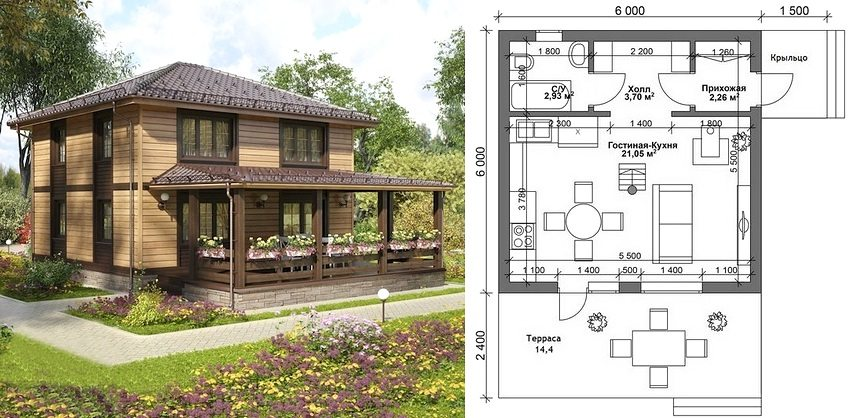 The plan of a two-storey house 6x6 with a porch and a large terrace