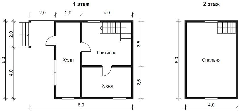 The plan of a compact house with a large bedroom on the second floor