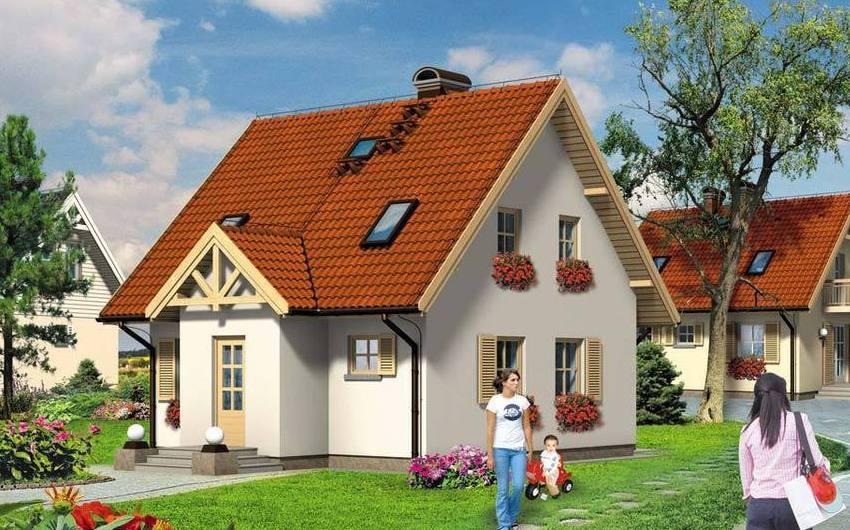 Проект 5. Фасад двухэтажного дома 9х9 м из газобетона