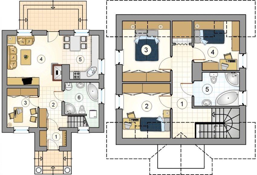Проект 5. План первого этажа: 1 – прихожая, 2 – коридор, 3 – кабинет, 4 – гостиная, 5 – кухня, 6 – ванная. План второго этажа: 1 – коридор, 2 – детская, 3 – спальня, 4 – детская, 5 – ванная