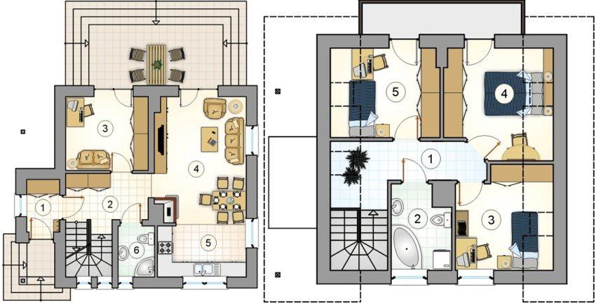 Проект 6. План первого этажа: 1 – прихожая, 2 – холл, 3 – кабинет, 4 – гостиная-столовая, 5 – кухня, 6 – ванная. План второго этажа: 1 – коридор, 2 – ванная, 3 – детская, 4 – спальня, 5 – детская