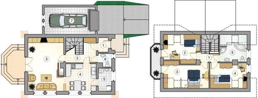 Проект 7. План первого этажа: 1 – прихожая, 2 – лестничный холл, 3 – гостиная, 4 – кухня-столовая, 5 – кладовая, 6 – туалет, 7 – гараж. План второго этажа: 1 – коридор, 2 – детская, 3 – спальня, 4 – детская, 5 – ванная