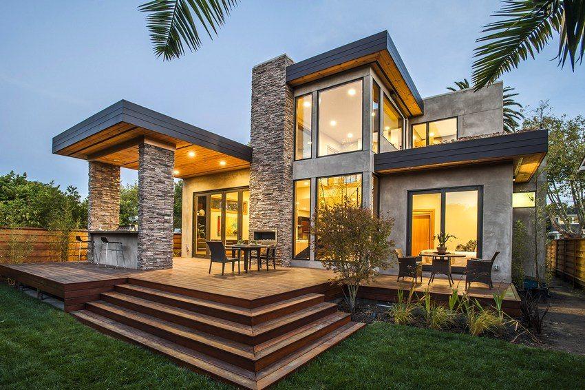 Двухэтажный дом с зоной отдыха на открытой террасе