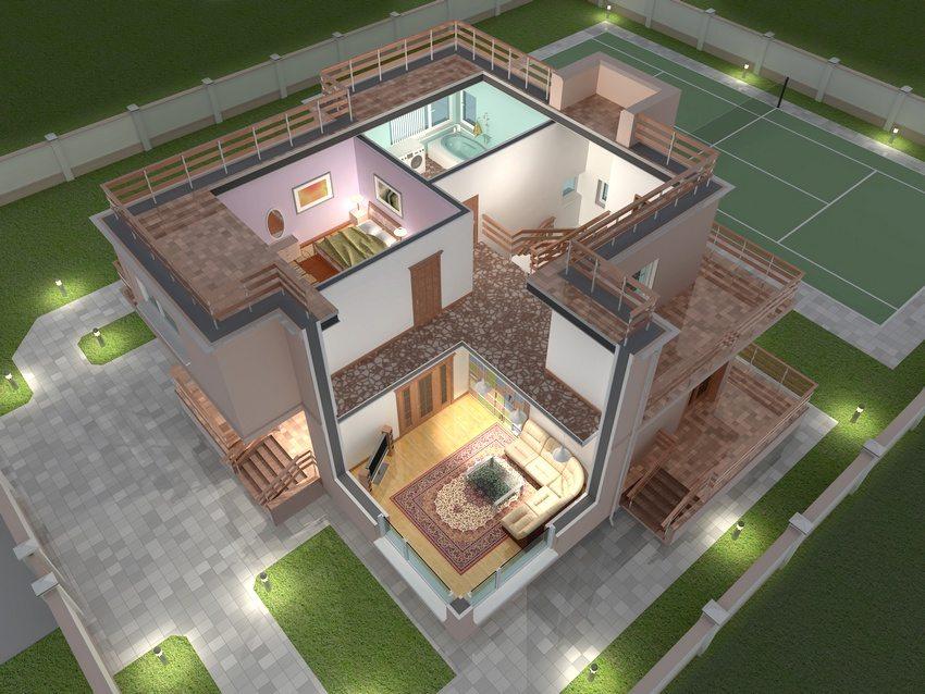 3D-модель небольшого по площади двухэтажного дома