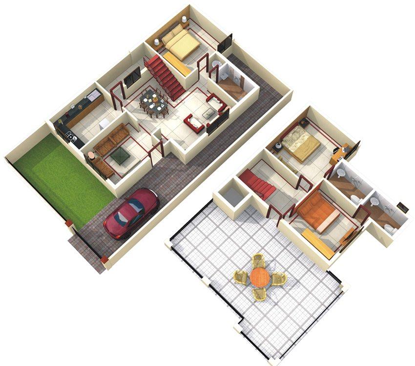 Пример планировки двухэтажного дома с небольшой площадью