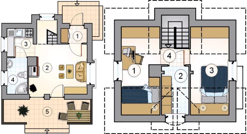 Проект 1. План первого этажа: 1 – тамбур, 2 – гостиная, 3 – кухня, 4 – ванная, 5 – терраса. План второго этажа: 1 – спальня, 2 – гардеробная, 3 – спальня, 4 – лестничный холл