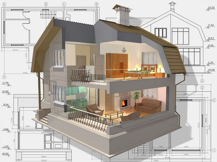 Здание с двумя этажами предоставляет широкие возможности для различных дизайнерских решений
