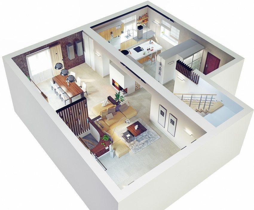 Планировка первого этажа дома компактных размеров