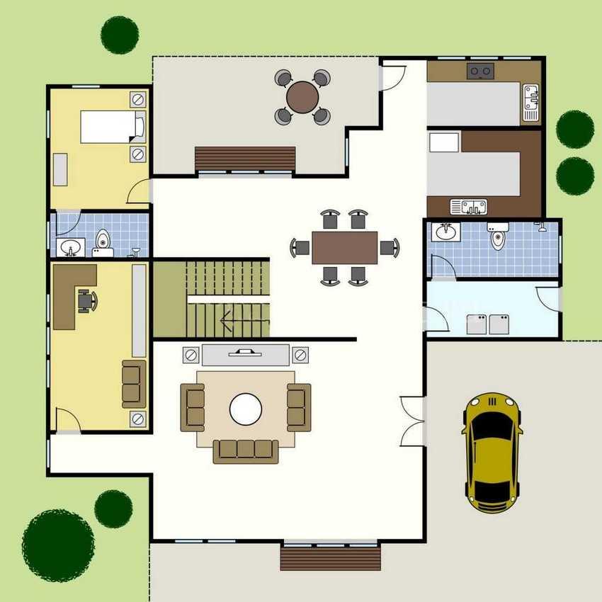 Вариант планировки первого этажа двухэтажного дома с большой верандой