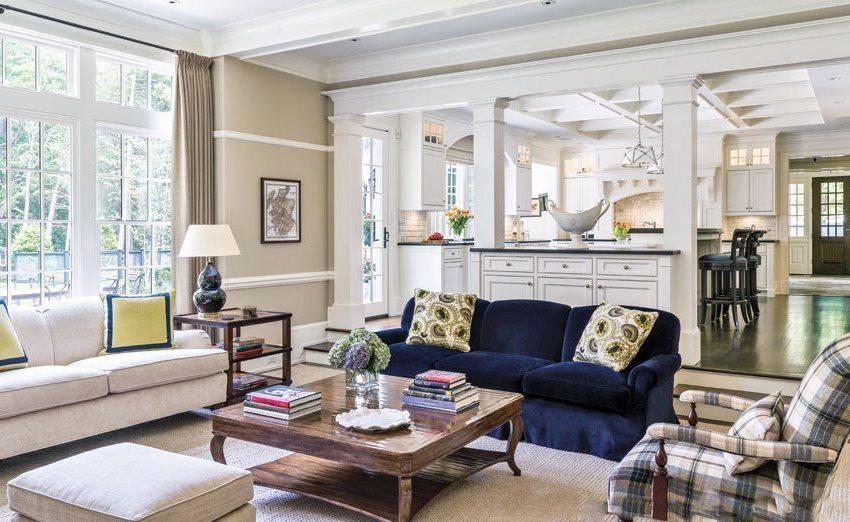 Помещения кухни-столовой и гостиной отделены друг от друга с помощью мебели