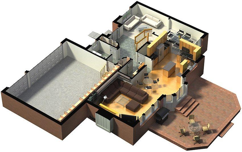 Планировка первого этажа частного дома с большим помещением гаража