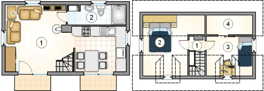 Проект 2. План первого этажа: 1 – кухня-гостиная-столовая, 2 - ванная. План второго этажа: 1 – коридор, 2 и 3 – спальня, 4 - гардеробная