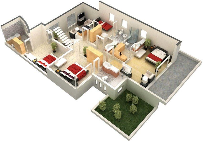 Планировка второго этажа с четырьмя спальнями большого двухэтажного дома с мансардой